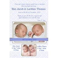 Twin Boy Birth Announcements and Baby Thank You Photo Cards TA29-Photo cards, personalised photo cards, photocards, personalised photocards, baby cards, personalised baby cards, birth announcements, personalised birth announcements, christening invitations, personalised christening invitations, personalised invitations, personalised announcements, invitations, announcements, photo invitations, photo announcements, personalised photo invitations, personalised photo announcements, announcement cards, announcement photo cards, photo christening invitations, photo announcements, birthday invitations, personalised birthday invitations, photo birthday invitations, photocard birth announcements, photo card birth announcements, personalised photo card birth announcement, personalised photo birthday invitation, personalised invites, birth celebrations, personalised celebrations, personalised birth celebrations, baptism invitations, personalised baptism invitations, personalised photo baptism invitations, pregnancy announcements, pregnancy announcement cards,  pregnancy cards, personalised pregnancy announcements, personalised pregnancy announcement cards, personalised pregnancy cards, baby shower invitations, personalised baby shower invitations, engagement invitations, personalised engagement invitations, photo engagement invitations, personalised photo engagement invitations, engagement photo cards, save the date cards, personalised save the date cards, photo save the date cards, wedding thank-you cards, personalised wedding thank-you cards, wedding thank-you photo cards,