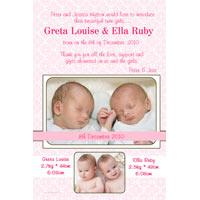 Twin Girl Birth Announcements and Baby Thank You Photo Cards TA30-Photo cards, personalised photo cards, photocards, personalised photocards, baby cards, personalised baby cards, birth announcements, personalised birth announcements, christening invitations, personalised christening invitations, personalised invitations, personalised announcements, invitations, announcements, photo invitations, photo announcements, personalised photo invitations, personalised photo announcements, announcement cards, announcement photo cards, photo christening invitations, photo announcements, birthday invitations, personalised birthday invitations, photo birthday invitations, photocard birth announcements, photo card birth announcements, personalised photo card birth announcement, personalised photo birthday invitation, personalised invites, birth celebrations, personalised celebrations, personalised birth celebrations, baptism invitations, personalised baptism invitations, personalised photo baptism invitations, pregnancy announcements, pregnancy announcement cards,  pregnancy cards, personalised pregnancy announcements, personalised pregnancy announcement cards, personalised pregnancy cards, baby shower invitations, personalised baby shower invitations, engagement invitations, personalised engagement invitations, photo engagement invitations, personalised photo engagement invitations, engagement photo cards, save the date cards, personalised save the date cards, photo save the date cards, wedding thank-you cards, personalised wedding thank-you cards, wedding thank-you photo cards,