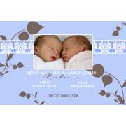 Birth Announcements and Baby Thank You Photo Cards for Twin Boys - TB01