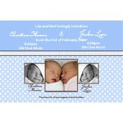 Birth Announcements and Baby Thank You Photo Cards for Twin Boys - TB02
