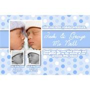 Birth Announcements and Baby Thank You Photo Cards for Twin Boys - TB03