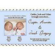 Birth Announcements and Baby Thank You Photo Cards for Twin Boys - TB04