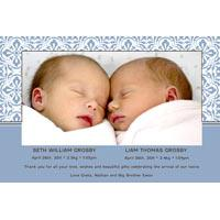 Birth Announcements and Baby Thank You Photo Cards for Twin Boys - TB11