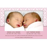 Birth Announcements and Baby Thank You Photo Cards for Twin Girls - TG11