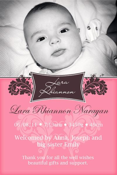 Finest Birth Announcements for Girl with Name Plaque GP01